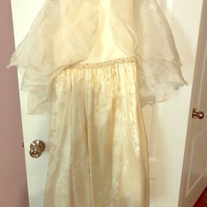 Vintage Cream Satin Girls Dress